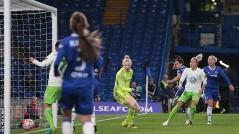 Zsanett Jakabfi scores against Chelsea