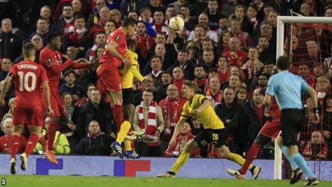 Dejan Lovren scores Liverpool's winner against Borussia Dortmund