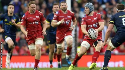 James Davies (L) and brother Jonathan, the Wales and Lions centre, helped Scarlets win the Pro12 title last season