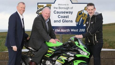 North West 200 event director Mervyn Whyte gets on his bike at the announcement of new title sponsors
