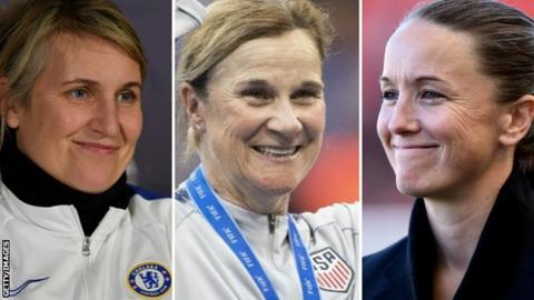 Chelsea boss Emma Hayes, United States manager Jill Ellis and Manchester United's Casey Stoney