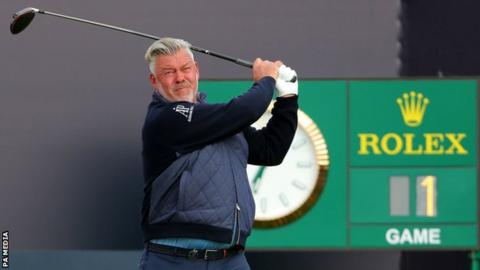 Darren Clarke hits the first shot of the 148th Open at Royal Portrush
