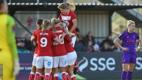 Bristol City Women celebrate Ella Rutherford's goal against Liverpool Women