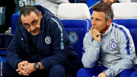 Maurizio Sarri with coach Gianfranco Zola