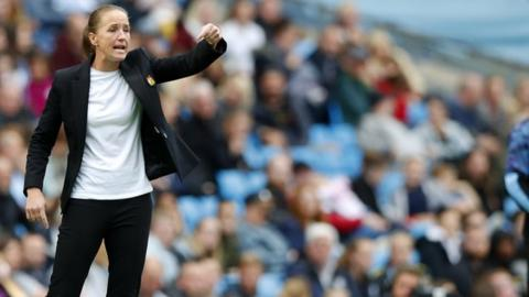 Casey Stoney on the touchline for Manchester United