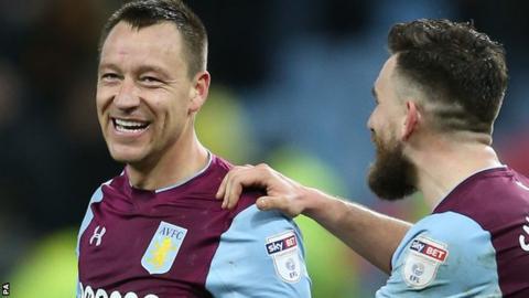 Aston Villa's John Terry and Robert Snodgrass celebrates Saturday's win over Wolves