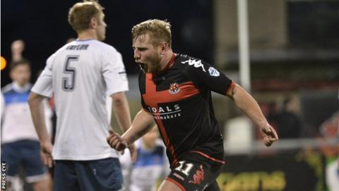 David Cushley celebrates his last-gasp strike which gave Crusaders a 1-0 win over Ards in November