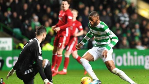 Olivier Ntcham scores for Celtic against Aberdeen