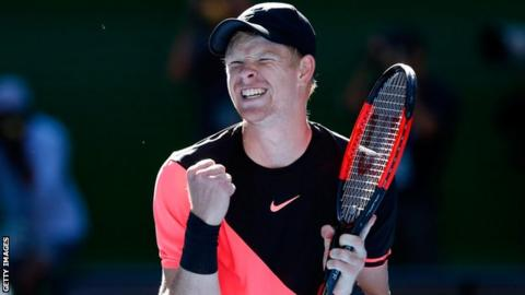 Kyle Edmund celebrates after reaching the semi-finals of the Australian Open