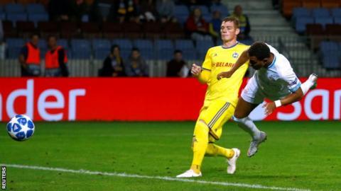 PSV Eindhoven striker Donyell Malen heads in a late winner against BATE Borisov