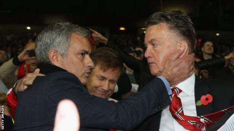 Louis van Gaal (right) was replaced by Jose Mourinho as Manchester United manager