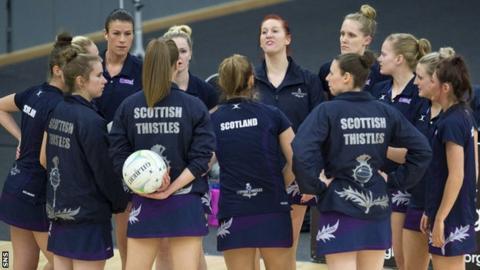 Scottish Thistles team talk