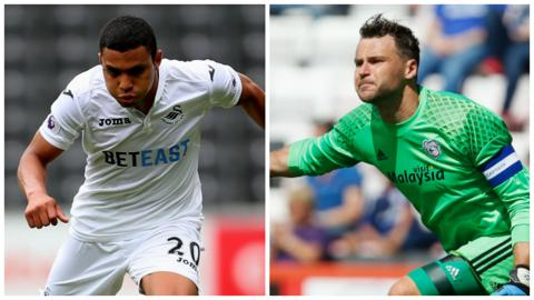 Swansea City winger Jefferson Montero and Cardiff City goalkeeper David Marshall