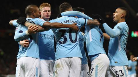 Manchester City celebrate Nicolas Otamendi's goal