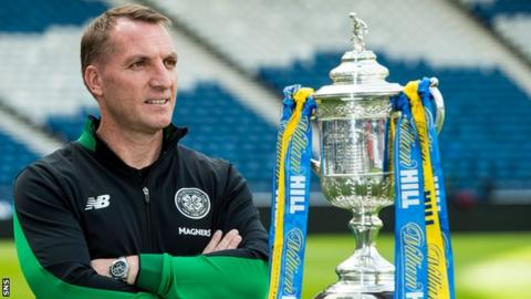 Celtic manager Brendan Rodgers with the Scottish Cup
