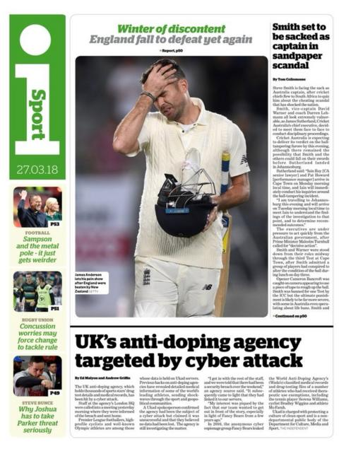 I Sport back page on Tuesday