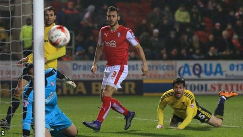 Middlesbrough's David Nugent heads wide against Rotherham
