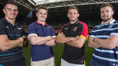 Ospreys' Owen Watkin, Scarlet's Jonathan Davies, Dragons' Elliot Dee and Cardiff Blues' Owen Lane