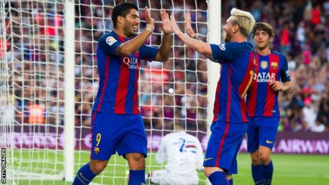 Luis Suarez and Lionel Messi are expected to face Celtic on Tuesday