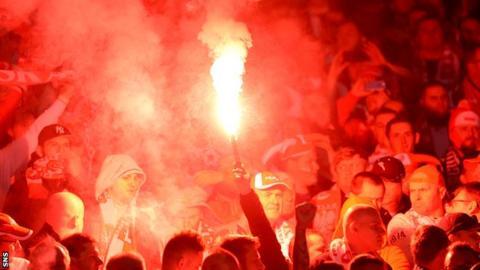 A flare at Hampden during Scotland's Euro 2016 draw at Hampden