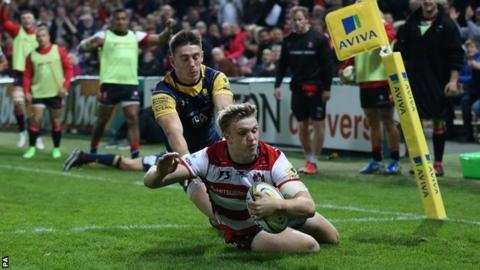 Ollie Thorley's second try also came in the left corner at Kingsholm