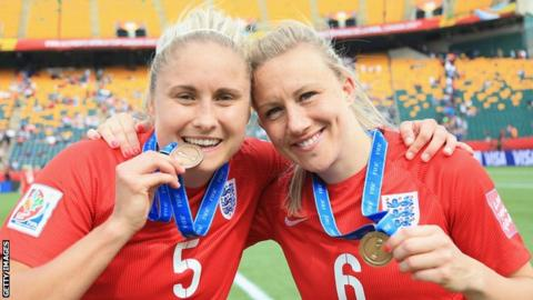 Steph Houghton and Laura Bassett with their 2017 European Women's Championship bronze medals