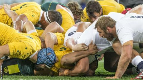 A scrum collapses during England's 3-0 away victory over the Wallabies in June