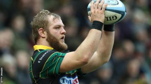 Mikey Haywood in action for Northampton Saints