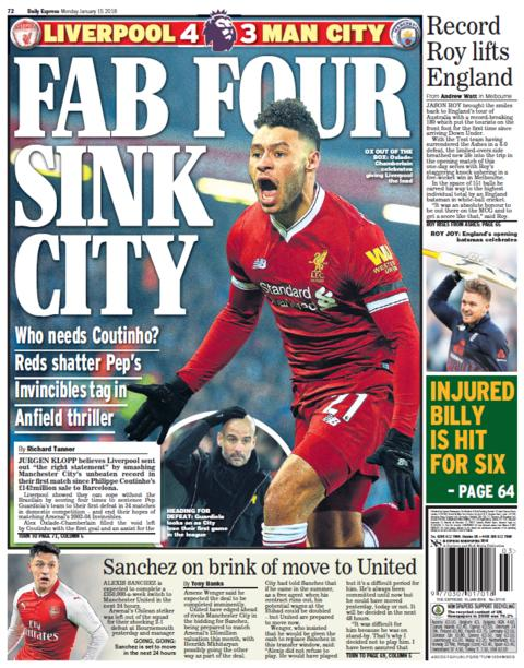 The Express back page on Monday