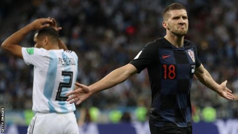 Croatia winger Ante Rebic celebrates scoring against Argentina