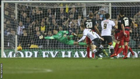 Andreas Weimann finds the corner of the net to give Derby the lead against QPR at the iPro Stadium