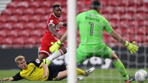 Britt Assombalonga scores against Burton