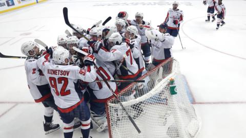 Florida, United States, 23 May: The Washington Capitals celebrate a 4-0 victory over Tampa Bay Lightning to progress to the Stanley Cup finals, where they will face Vegas Golden Knights, who are competing in their debut season. (Photo by Mike Carlson/Getty Images)