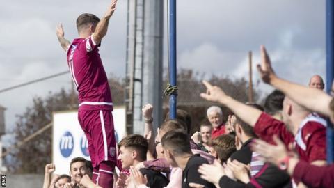Arbroath striker Bobby Linn celebrates