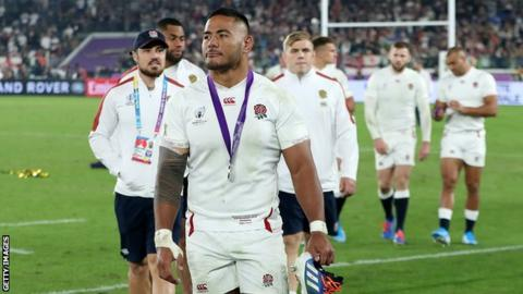 Manu Tuilagi following England's World Cup final defeat against South Africa