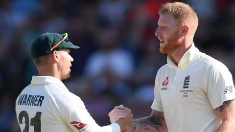 David Warner and Ben Stokes shake hands after the Headingley Test