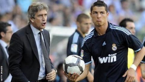 Manuel Pellegrini (left) and Cristiano Ronaldo