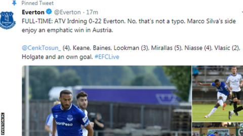 Everton win farcical pre-season friendly 22-0