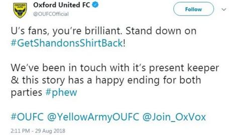Oxford United tweet