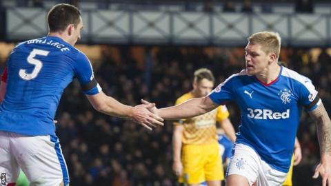 Rangers' Lee Wallace and Martyn Waghorn celebrate