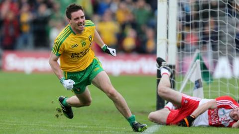 Marty O'Reilly celebrates after scoring the only goal of the Ulster semi-final against Derry at Clones