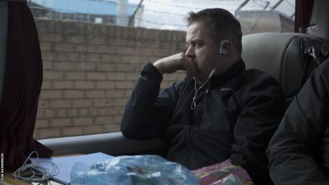 Edinburgh City manager Gary Jardine looks pensive as the team bus arrives at Station Park, Forfar, before the League Two fixture