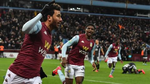 Trezeguet celebrates scoring for Aston Villa