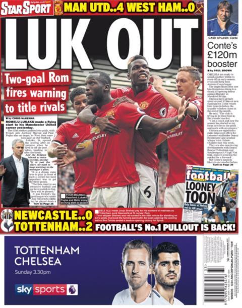 The Daily Star leads with Romelu Lukaku's goal-scoring debut