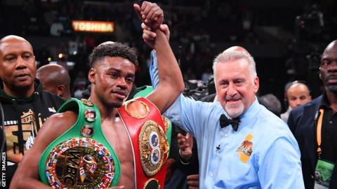 Errol Spence Jr beat Shawn Porter at the Staples Center to unify the IBF and WBC world welterweight titles