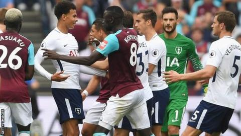 West Ham and Tottenham players