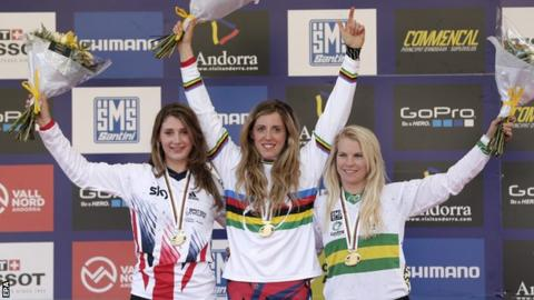 Manon Carpenter (left) with winner Rachel Atherton and third placed Tracey Hannah