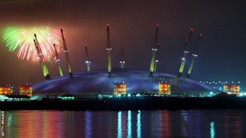A picture of fireworks above the Millennium Dome