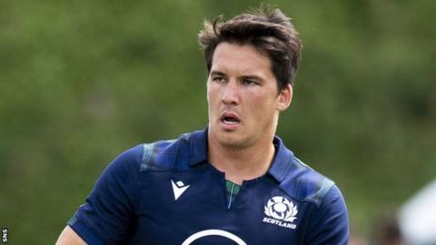 Finn Russell Scotland's Sam Johnson