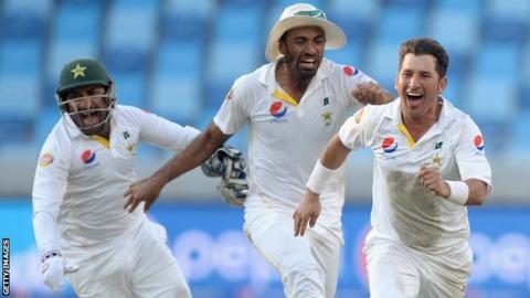 Yasir Shah celebrates the final wicket